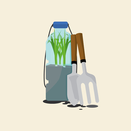cultivating: Green Onions Cultivating In Reuse Water Bottle, Vector Illustration Illustration