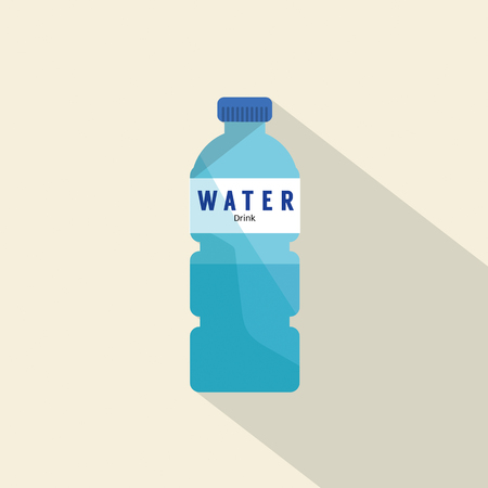 Single Water Plastic Bottle Flat Deign Vector Illustration