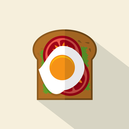 egg sandwich: Top View Of Flat Design Sandwich Fried Egg With Tomatoes And Lattuce Vector Illustration Illustration