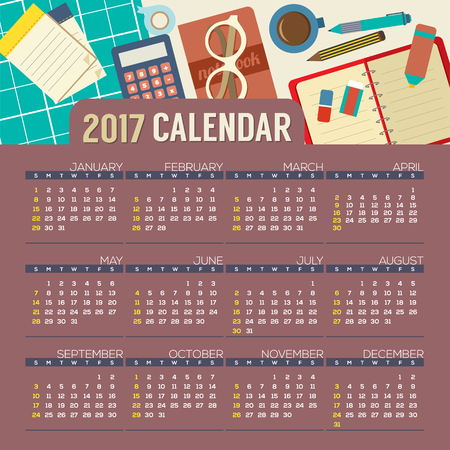 calender: Flat Design Top View Workplace 2017 Printable Calendar Starts Sunday Vector Illustration Illustration