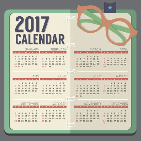 calender: Flat Design Eyeglasses On Notebook 2017 Printable Calendar Starts Sunday Vector Illustration