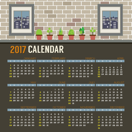 starts: Flat Design Pot Plants With Windows Show Outside View On Brick Wall 2017 Printable Calendar Starts Sunday Vector Illustration