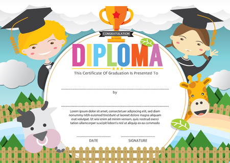 Kids Diploma Certificate Template Vector Illustration