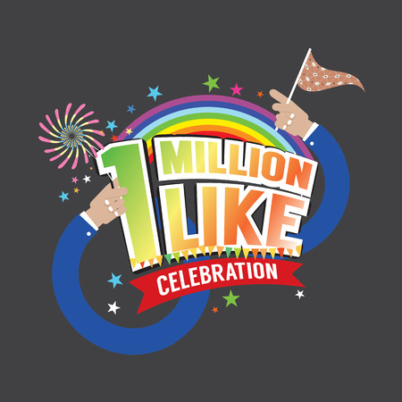 raise the thumb: 1 Million Likes Celebration Vector Illustration Illustration
