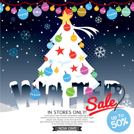 decorated christmas tree: Decorated Christmas Tree Winter Concept Up To 50 Percent Sale Template Vector Illustration