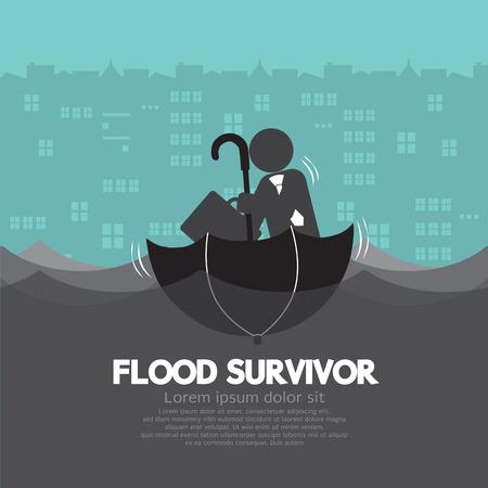 inundation: Businessman Sit In The Up Side Down Open Umbrella Flood Survivor Vector Illustration