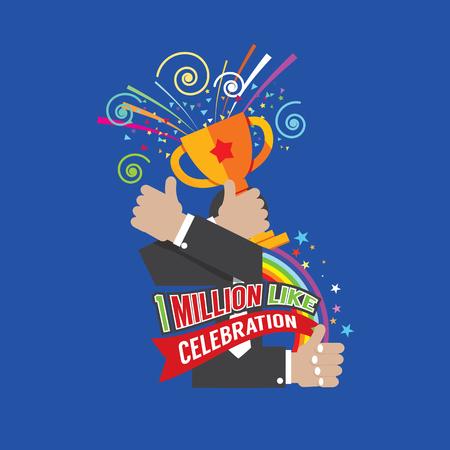 MILLION: 1 Million Likes Celebration Vector Illustration Illustration