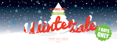 wide: Winter Sale 50 Percent 6234x2500 px Wide Banner Vector Illustration Illustration