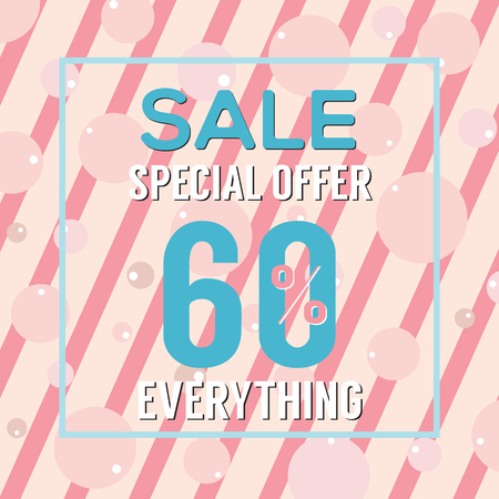 pink bubbles: Special Offer 60 Percent On Pink Bubbles And Stripes Vector Illustration
