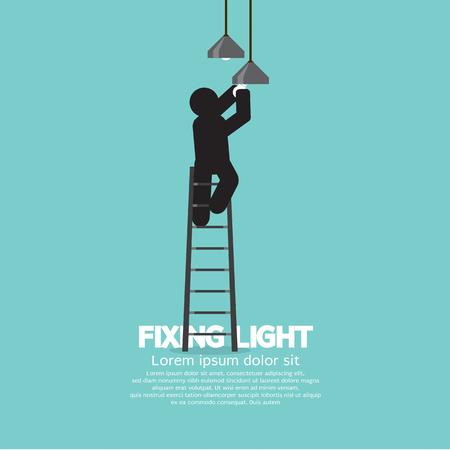 Black Symbol Person On Stepladder Change Ceiling Light Vector Illustration