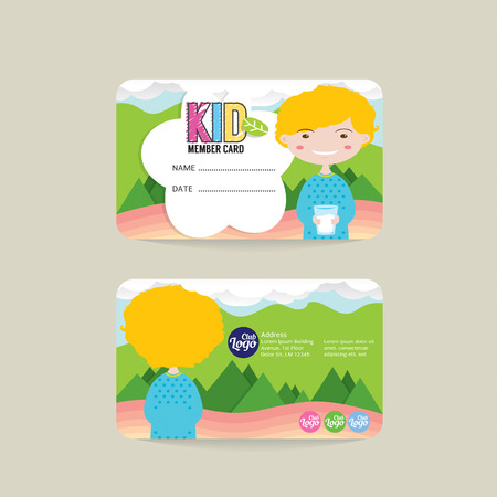 kids club: Front And Back VIP Kids Member Card Template Vector Illustration