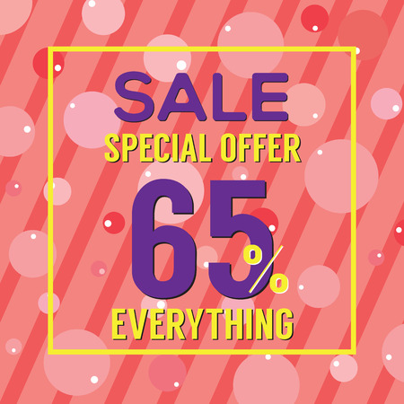 advertisements: Special Offer 65 Percent On Colorful Pink Bubbles And Stripes Vector Illustration Illustration