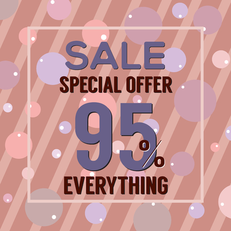 95: Special Offer 95 Percent On Dark Pink Bubbles And Stripes Vector Illustration Illustration