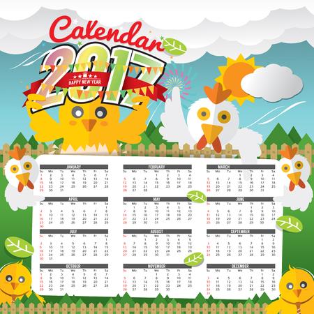 2017 Calendar Starts Sunday Chicken In Forest Vector Illustration