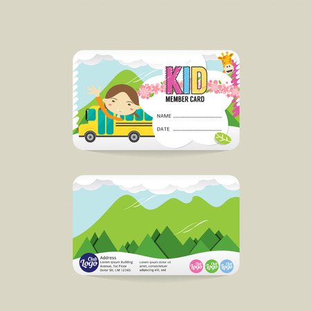 access card: Front And Back VIP Kids Member Card Template Vector Illustration