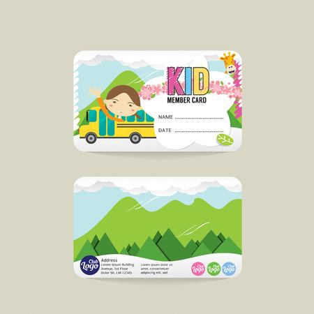 Front And Back VIP Kids Member Card Template Vector Illustration Векторная Иллюстрация
