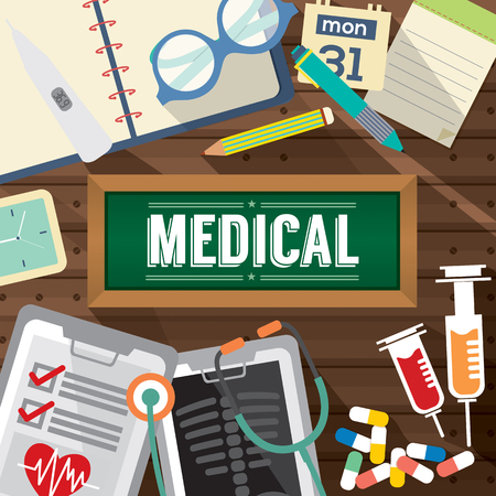 hypodermic: Top View Of Medicine Tablets, Hypodermic Syringe And Diagnosis Paper Medical Concept Vector Illustration