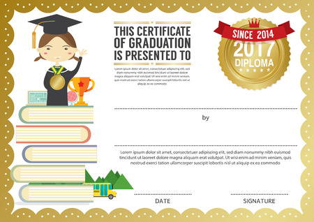 preschool elementary school kids diploma certificate background design template stock vector 61909493