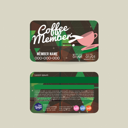 green coupon: Front And Back Coffee Voucher Of Member Card Template Vector Illustration Illustration