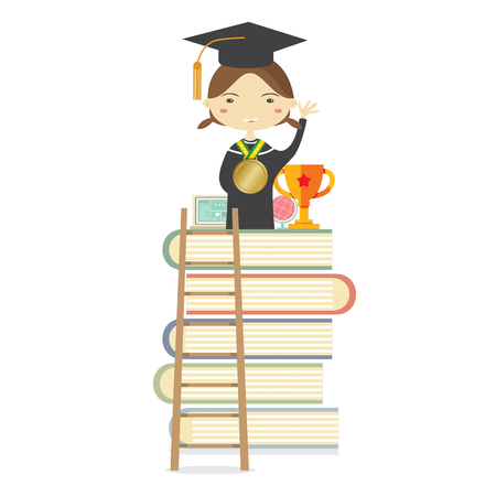 college girl: Happy Girl In Graduation Suit Standing On The Highest Book Staircase Represent Successful Education Concept Vector Illustration Illustration