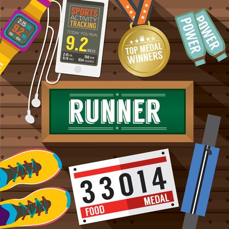 bib: Top View Runner Gears On Wooden Plank Vector Illustration