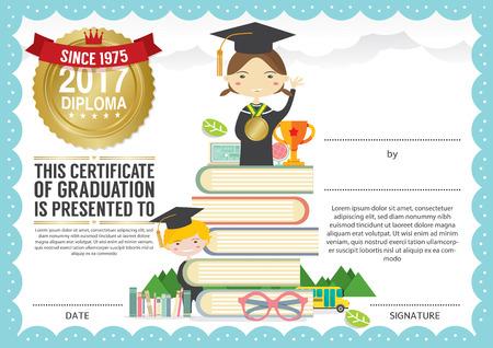 graduacion: Escuela Primaria Preescolar Certificado Diploma Plantilla de diseño del fondo Vectores