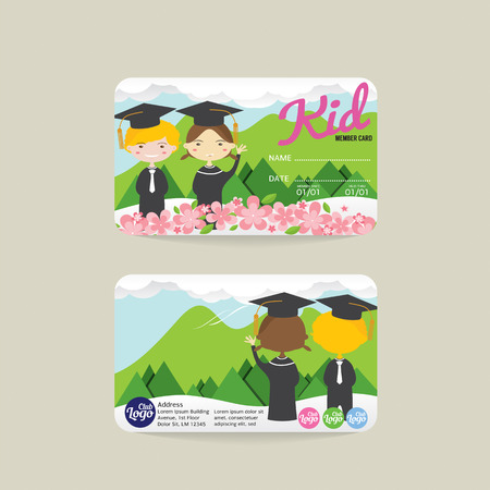 members: Front And Back Kids Member Card Template Vector Illustration