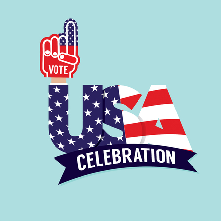 raise the thumb: Vote USA Celebration Flag Vector Illustration