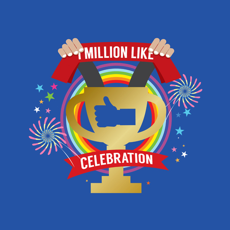 raise the thumb: One Million Likes Celebration Vector Illustration Illustration
