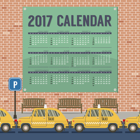 footpath: 2017 Printable Calendar Starts Sunday Taxi Cars Park At Footpath Vector Illustration Illustration