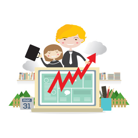raise: Business People With Raise Graph On Laptop Business Concept Vector Illustration