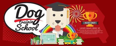 super dog: Dog Training School Super Wide Banner Vector Illustration Illustration