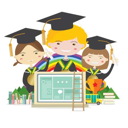 Happy Students In Graduation Suit With Golden Medal Represent Education Concept Illustration