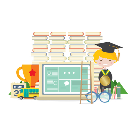 student with books: Happy Student With Books, Trophy And Ladder Represent Education Concept Illustration Illustration