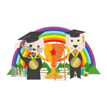 successful student: Cat And Dog Wearing Graduate Suite Pet Training Concept Illustration Illustration