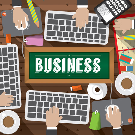 office objects: Top View Workplace With Office Supplies Objects Illustration