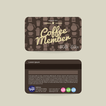 members: Front And Back Coffee Voucher Of Member Card Template Illustration