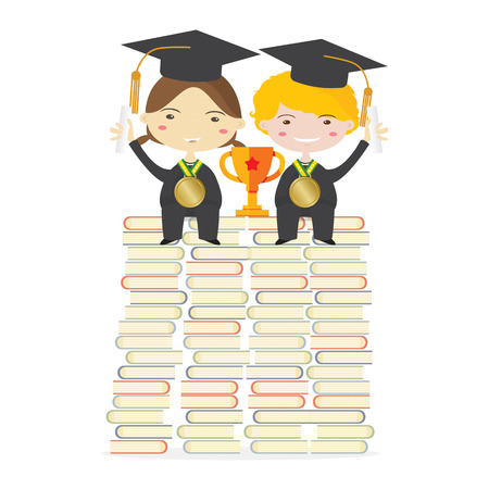 graduation suit: Children Wearing Graduation Suit Sitting With Golden Trophy On Huge Books Stacks Represent To Success Education Illustration