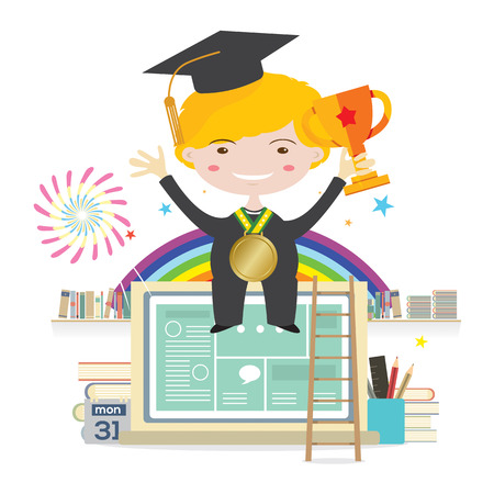 graduation suit: Boy Wearing Graduation Suit With Golden Trophy Sitting On Laptop Represent To Success Education Illustration Illustration