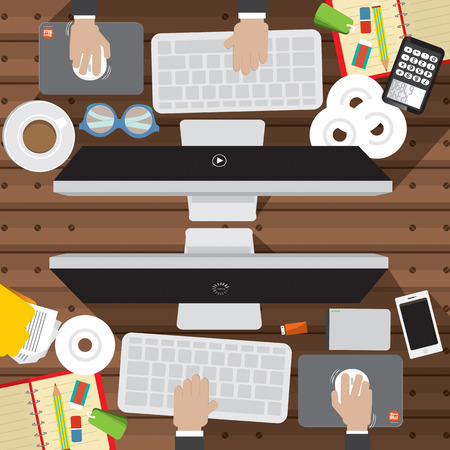 office supply: Flat Design Of Office Worker Desk With Office Supply Illustration Illustration