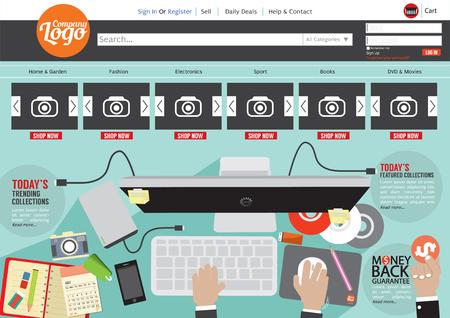 site backgrounds: Website Template Flat Design Illustration