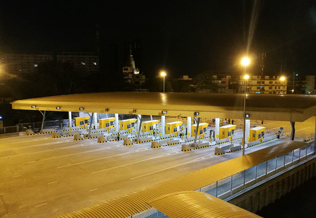 Highway Toll, Payment Gate Without Car At Night High Angle View Editorial