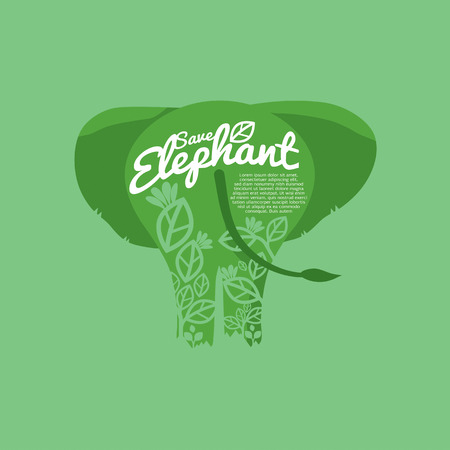 conservative: Save Elephant Conservative Concept Vector Illustration
