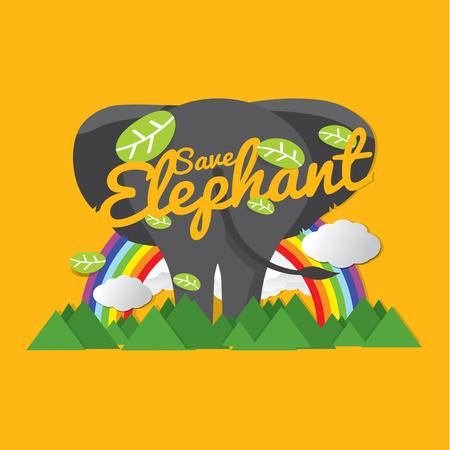 Save Elephant Conservative Concept Vector Illustration