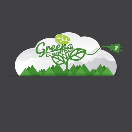 unplug: Environmentally Friendly Green Concept Vector Illustration Illustration