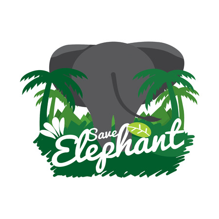 conservative: Save Elephant Conservative Concept Vector Illustration