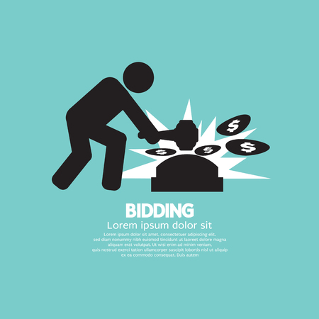 Black Symbol Bidding Auction Sign Vector Illustration