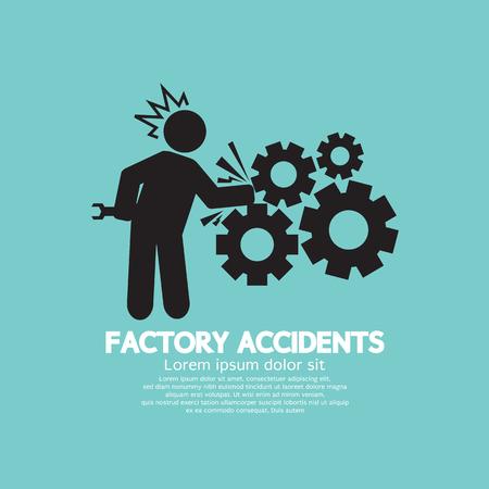 Factory Accidents Black Symbol Vector Illustration