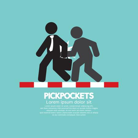 pickpocket: Pickpocketer Steal Things From Bag Of Businessman On Street Black Symbol Vector Illustration