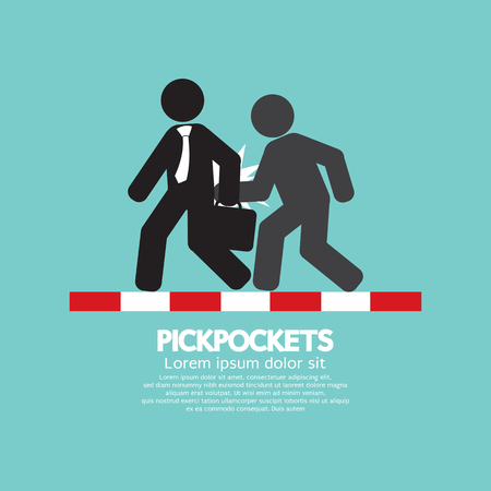 Pickpocketer Steal Things From Bag Of Businessman On Street Black Symbol Vector Illustration